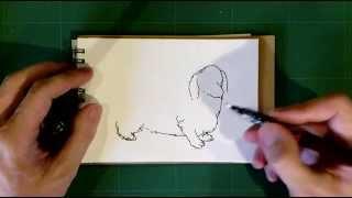 グラフィックペンで、ダックスフンドをスケッチしました。 ------ 使用...