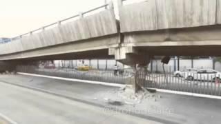 Drone Captures Collapsed Bridge After Powerful Ecuador Quake