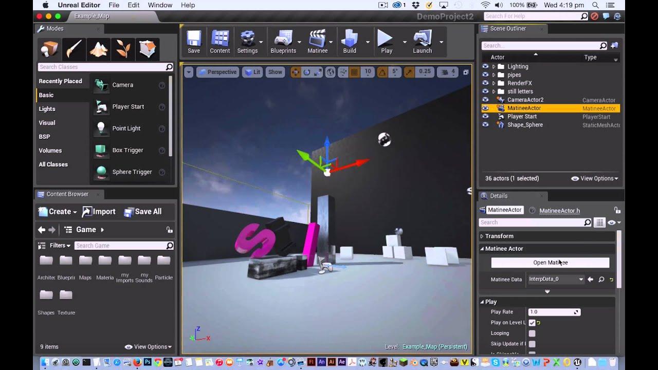 UE4 Tutorial: Matinee - Animating a Static Mesh