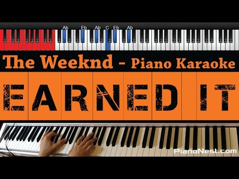 The Weeknd - Earned It - HIGHER Key (Fifty Shades Of Grey) Piano Karaoke / Sing Along