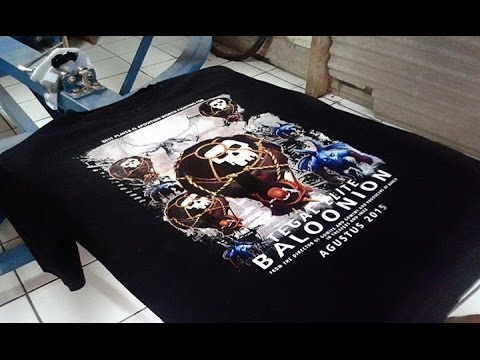 """Proses cetak Kaos """"Clash Of Clans"""" Full Color CMYK with plastisol ink"""