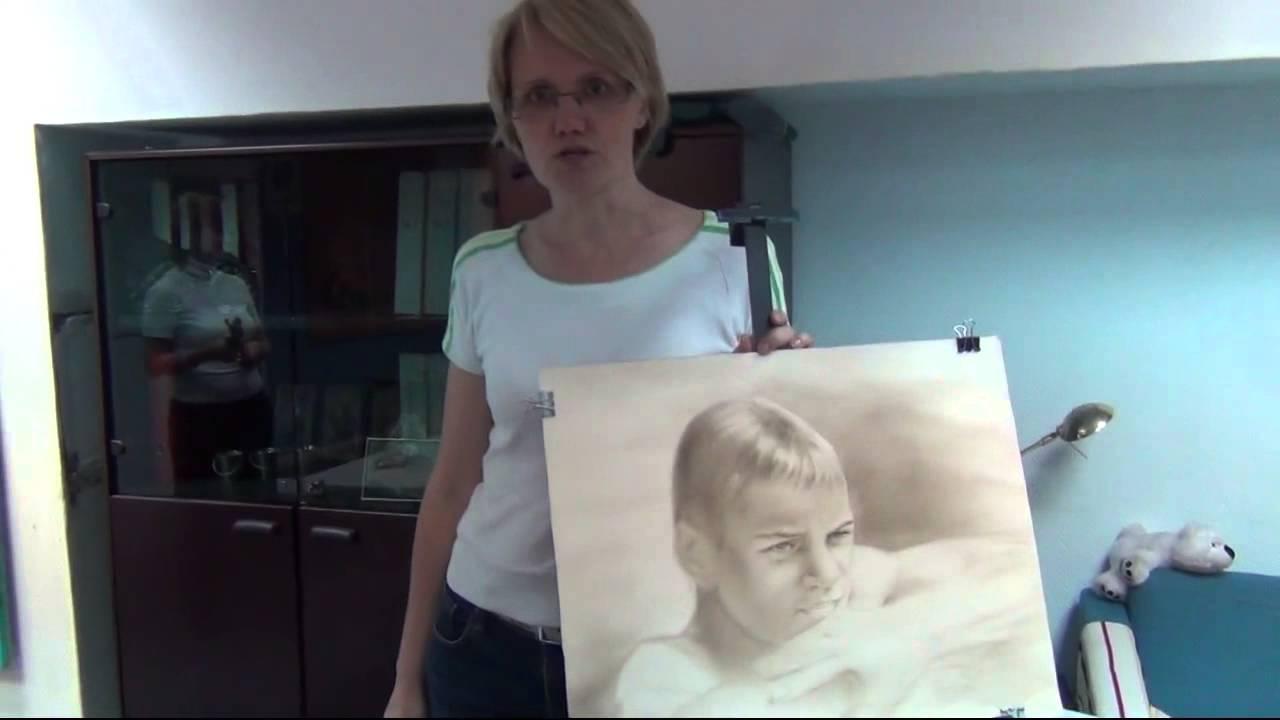Как рисовать портрет. сухая кисть сепия. Отзыв - YouTube