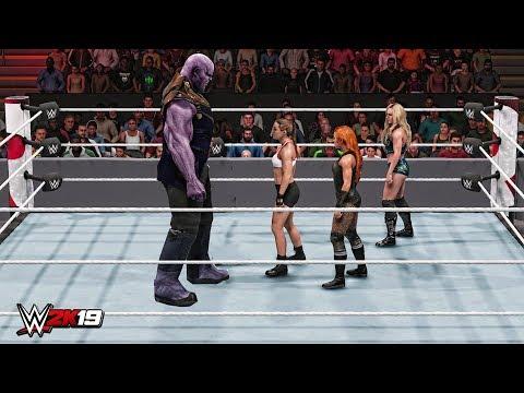 WWE 2K19 Giant Thanos vs Mini Ronda Rousey, Mini Becky Lynch & Mini Charlotte Flair Match!