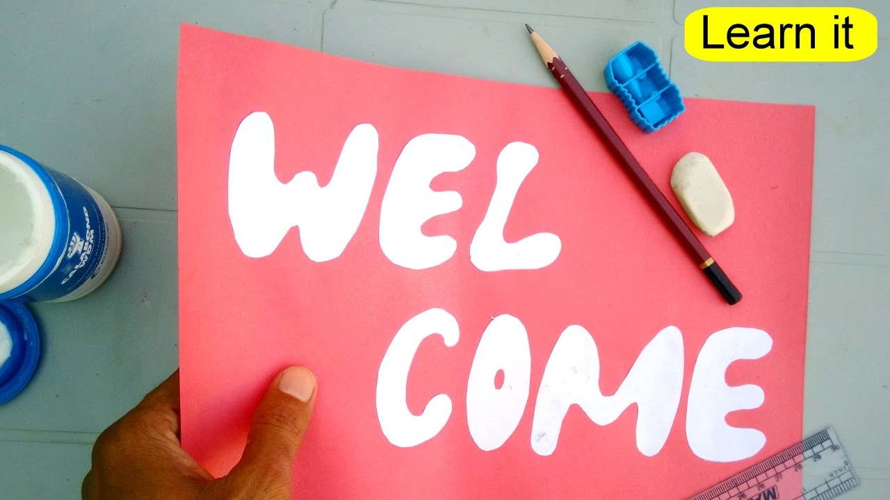 Learn to make welcome card step by step for wall for Fomic sheet decoration youtube