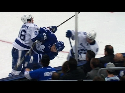 Kucherov gets knocked down, takes run at Gardiner