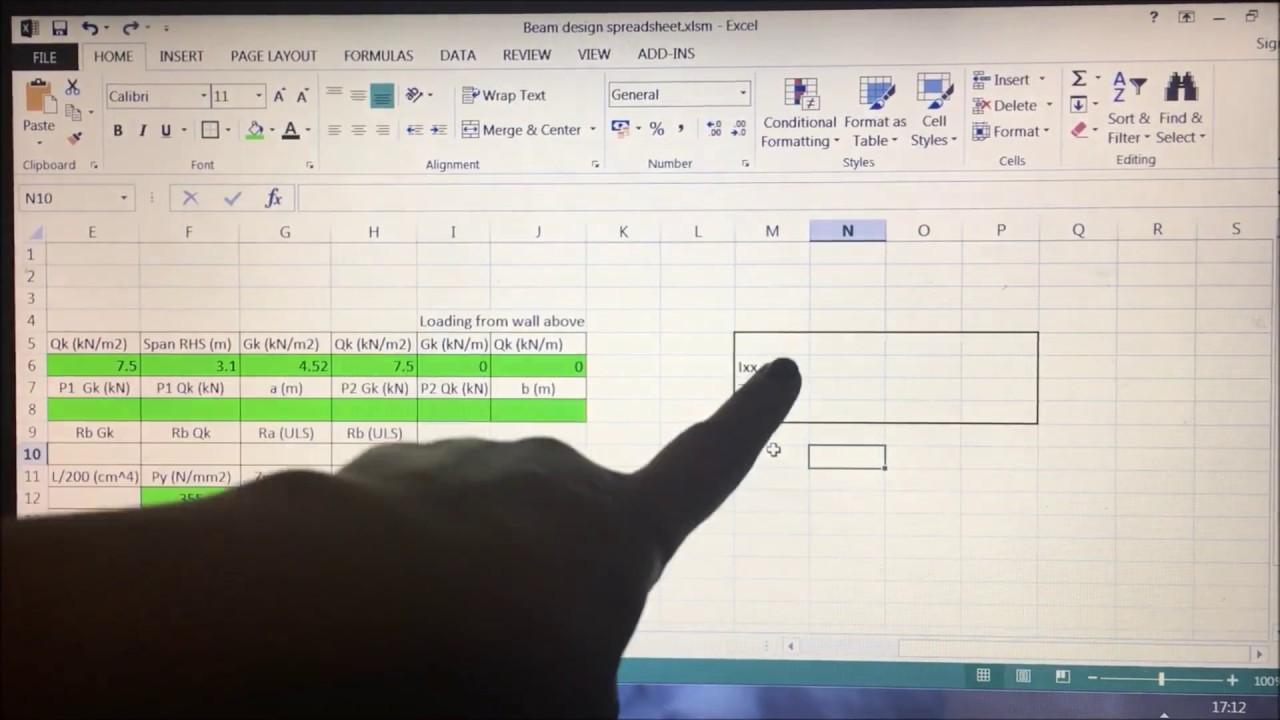Excel Beam Design, Simple