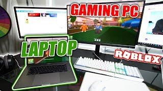 Playing Jailbreak on $7,000 GAMING PC vs MACBOOK PRO! (Roblox)