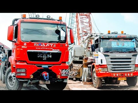 Heavy Haulage Transport Truck MAN TGS 40.480 Scania P380 Hauling Crane AFT