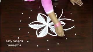 Beautiful daily kolam || Easy rangoli with 7 dots || New muggulu || Latest designs