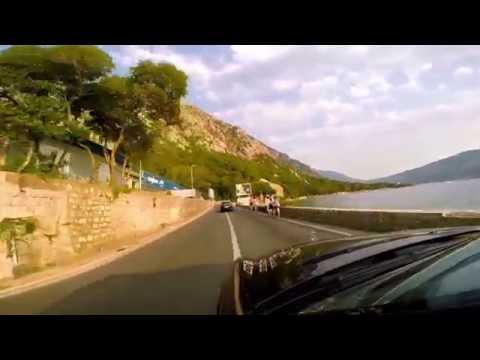 Kotor Bay,  Dobrota.  Road Trip. Montenegro beautiful roads in July