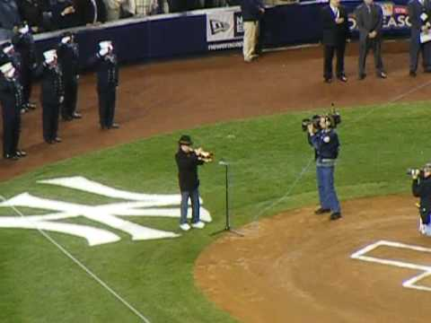 Chuck Mangione performs the National Anthem before Game 6 of the  2009 ALCS in Yankee Stadium