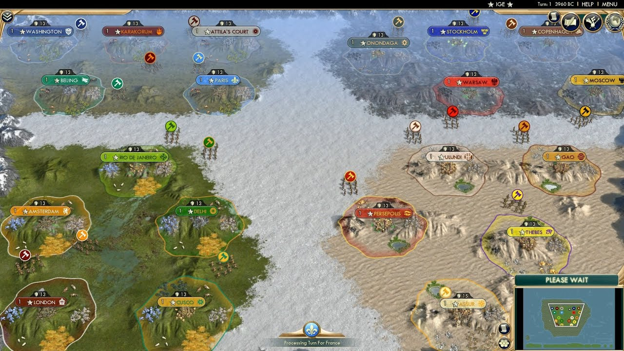 Civ 5 AI Only Timelapse: Battle of Biomes
