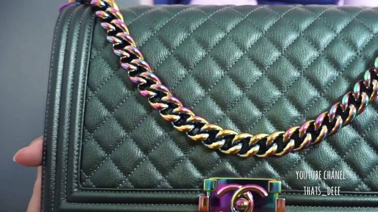 e25e235e69265d Chanel iridescent classic medium flap vs new medium boy - YouTube