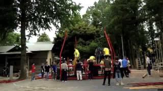 叶谷町会納涼祭のヤグラ組み立て