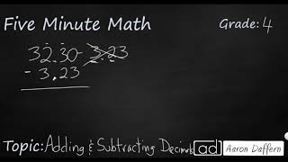 4th Grade Math Adding and Subtracting Decimals