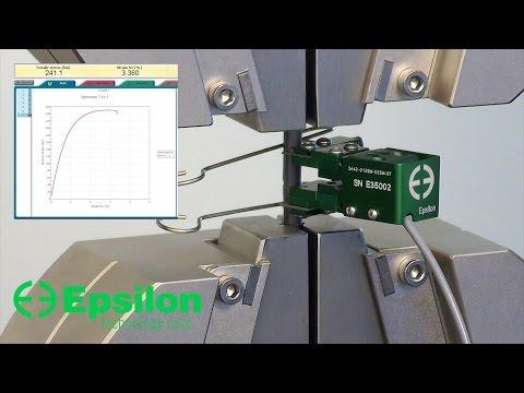 High-strength steel tensile test using short specimen (Epsilon Technology - Model 3442)