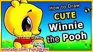 How to Draw Disney Cartoons - Winnie the Pooh - Pooh Bear Fun2draw Art Lessons