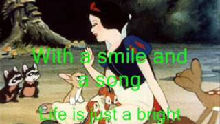 Snow White - With A Smile And A Song - Instrumental - With Lyrics - Karaoke