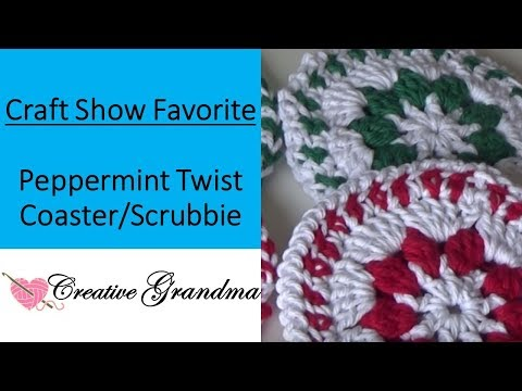 Crocheted peppermint coaster laughlovecreate doovi for Peppermint swirl craft show