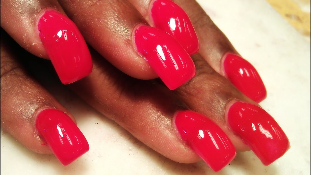 HOW TO APPLY THICK ACRYLIC NAILS ONE BALL METHOD - YouTube