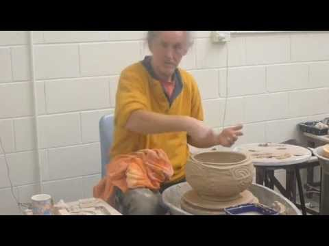 Greg Crowe Ceramics  throwing a faceted twist pot