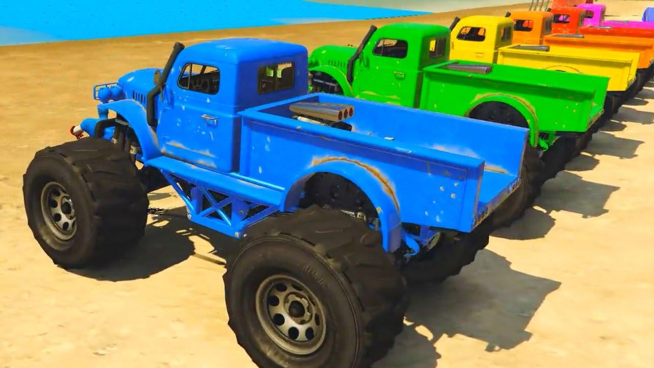 COLOR Monster Cars on Truck - Superhero Cartoon for Kids ...