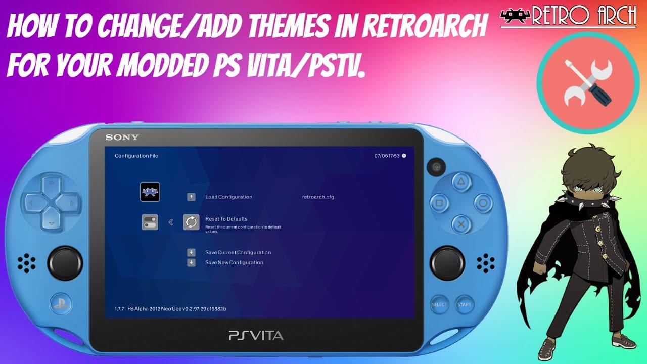 How To Change Add Themes In Retroarch For Your Modded Ps Vita Pstv Retroarch Henkaku Psvita Youtube