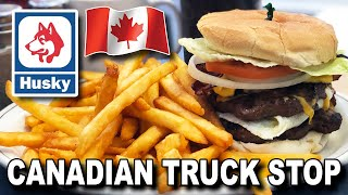 Canadian Truck Stop 🚚🇨🇦🍔 The King of the Road Burger and Samosas at a HUSKY/ESSO Station