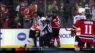 Bryce Salvador rasslin Maxime Talbot 22 Jan 2013 Philadelphia Flyers vs NJ Devils NHL hockey