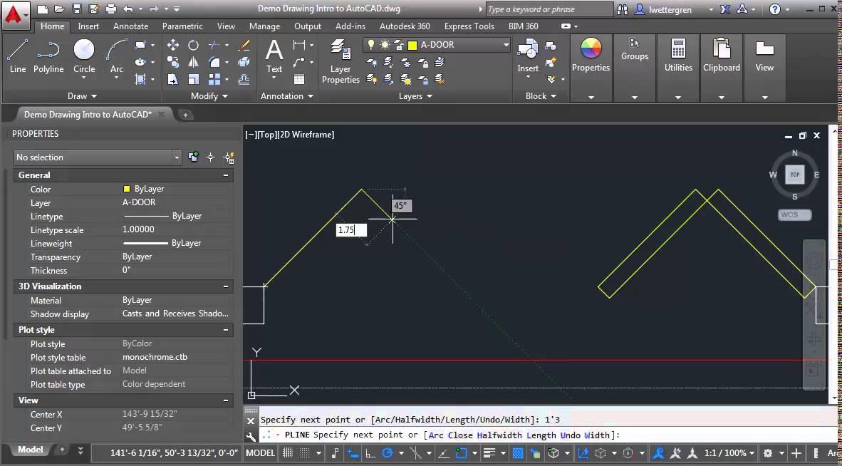 Drawing bi fold doors in plan - YouTube