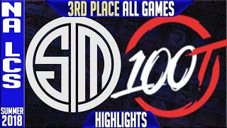 TSM vs 100 Highlights ALL GAMES | NA LCS Playoffs 3rd Place Summer 2018 | Team Solomid v 100 Thieves