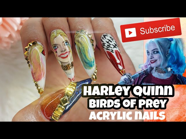 Harley Quinn Nails Birds Of Prey Nails Hand Painted Youtube