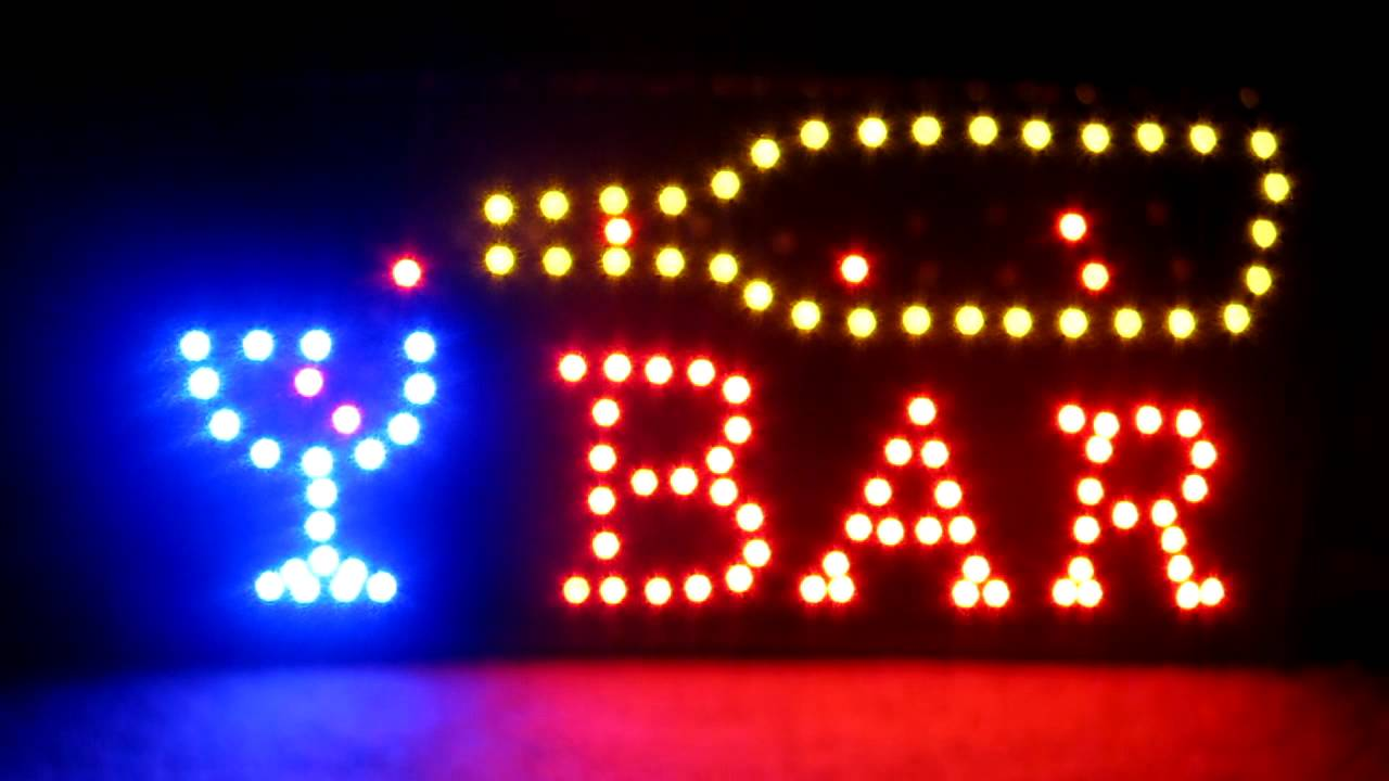 BAR SIGN LED OPEN SIGN ON/OFF BUTTON 19X10 METAL CHAIN