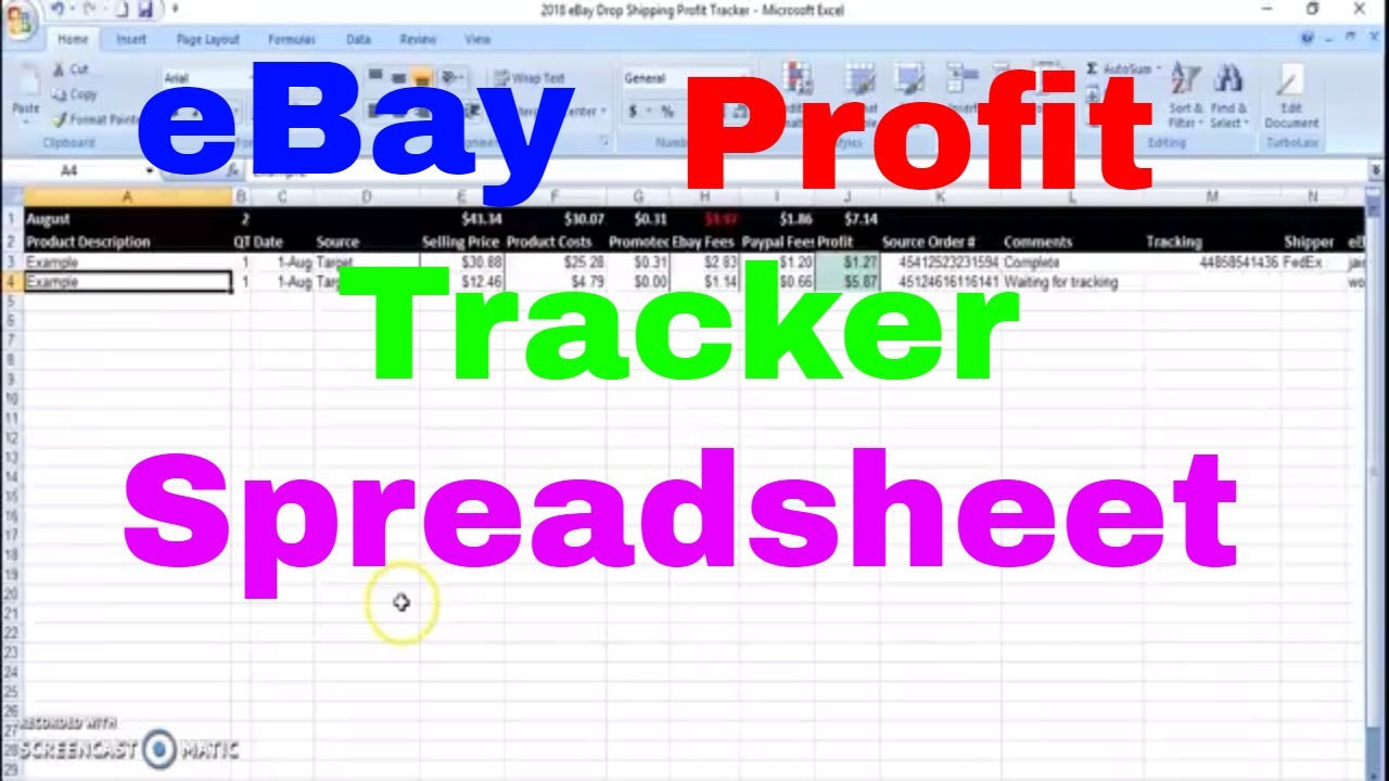 Ebay Drop Shipping Profit Tracker Excel Spreadsheet Or Google Sheet Monthly Sale By Sale Tracking
