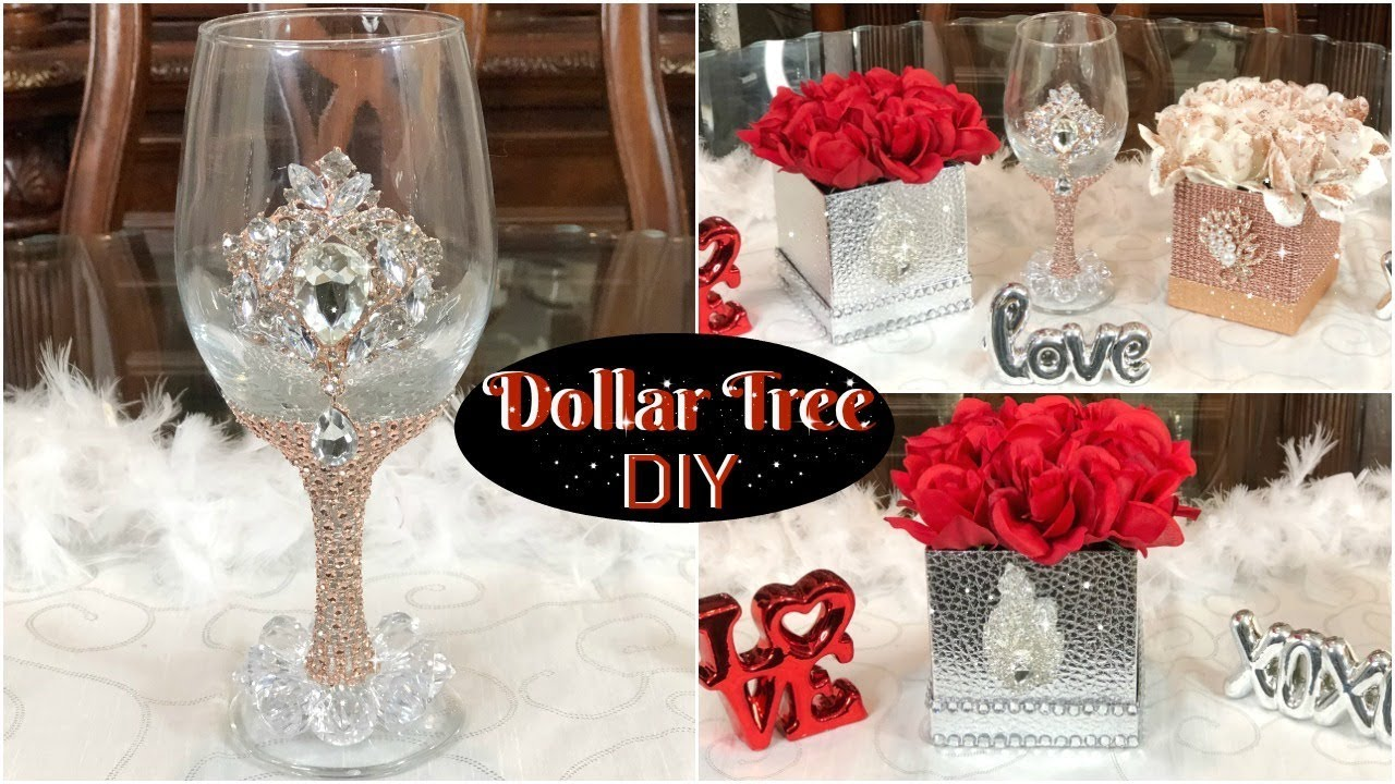 DOLLAR TREE DIY GLAM ROSE GOLD AND SILVER VALENTINES DECOR