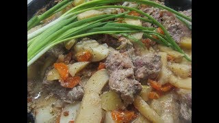 Быстрый ужин.Жаркое из мяса и овощей/Quick dinner. Roast meat and vegetables/Юлия Клочкова