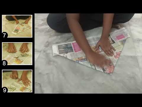 How to make News Paper Dustbin   Paper Trash Bin   Paper Craft   School Projects   kids do dustbin