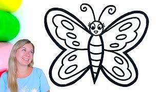 Butterfly Drawing and Coloring with Paint for Kids