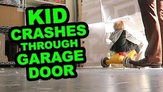 Kid Crashes Thru Garage Door