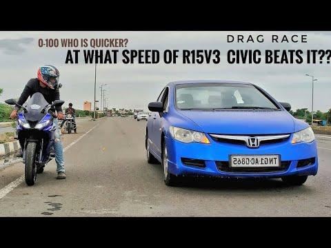 yamaha r15 v3 VS Honda Civic |Drag Race|R15 v3 5th gear top speed|