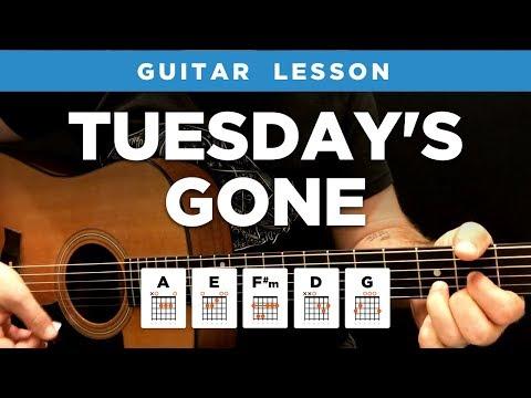 """🎸 """"Tuesday's Gone"""" acoustic guitar lesson w/ chords (Lynyrd Skynyrd)"""