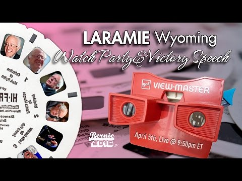 Bernie Sanders LIVE From Laramie Wyoming - Watch Party and Victory Speech