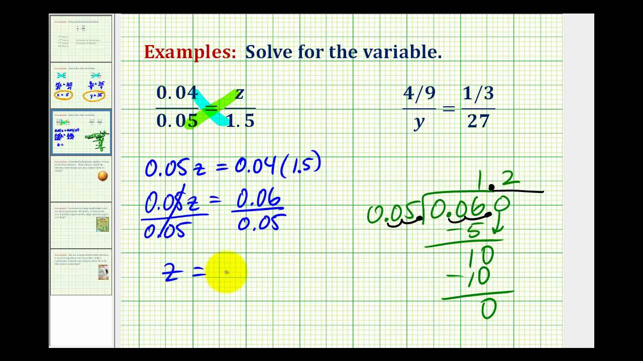 small resolution of Examples: Solving Proportions Involving Decimals and Fractions - YouTube