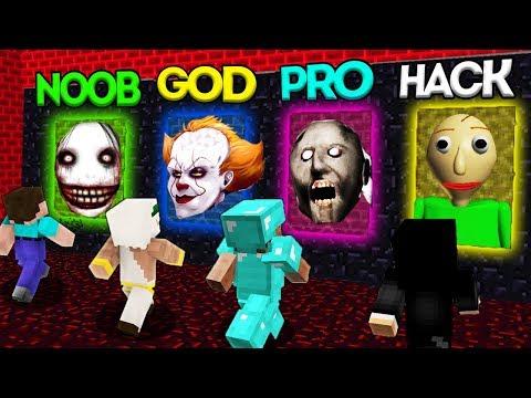 Minecraft Battle: NOOB vs PRO vs HACKER vs GOD: SCARY PORTAL CHALLENGE / Animation