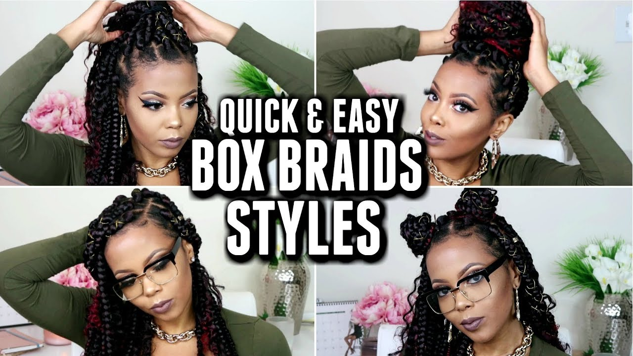 11 QUICK & EASY BOX BRAID STYLES | HOW TO STYLE JUMBO BOX BRAIDS |HOLIDAY HAIRSTYLES |TASTEPINK ...