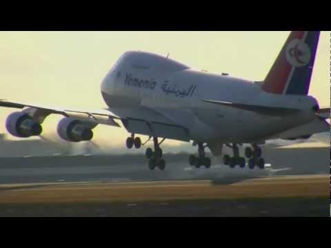 Yemen Airways 747SP Lands Boston Logan 2-22-2012