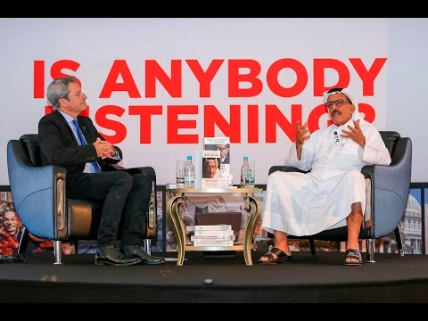 Khalaf Ahmad Al Habtoor speaks to Gavin Esler at the launch of his new book: Is Anybody Listening?