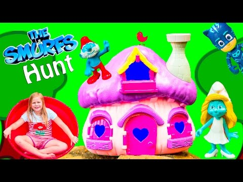SMURF Hunt Assistant and PJ Masks Search for Papa Smurf and Smurfette Kids Video