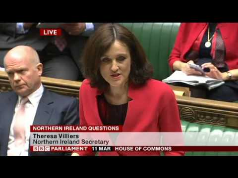 Theresa Villiers MP in House of Commons   Live Northern Ireland Questions