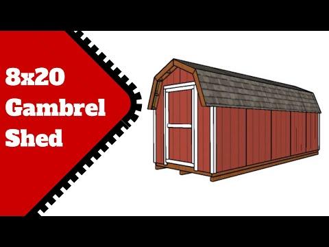 8x20 Gambrel Storage Shed Plans